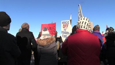 Protestors brave cold outside UCP annual general meeting