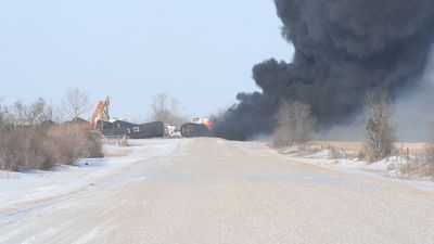 Emergency crew respond to CP Rail train hauling crude oil that derailed