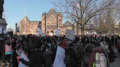 Teacher unions hope huge protest shows unity