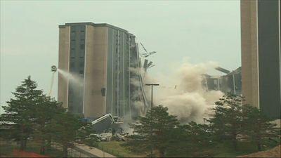 University building implosion