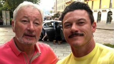 Luke Evans thanks hospital staff for saving his father's hand