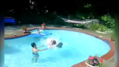 Coolest jump into pool ever