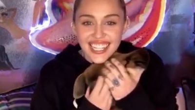 Miley Cyrus blushes as boyfriend reads her love poetry on Instagram Live show
