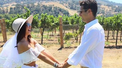 Sarah Hyland and Wells Adams celebrate their original wedding date