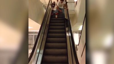 This is why you never cycle down an escalator