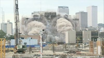 Footage showing hotel implosion