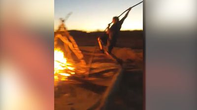 Pole vaulting over fire!