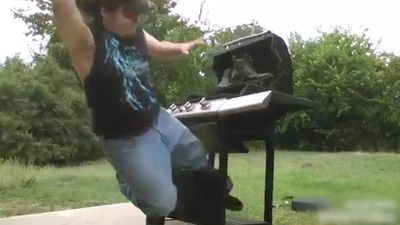 Doing karate with a barbecue