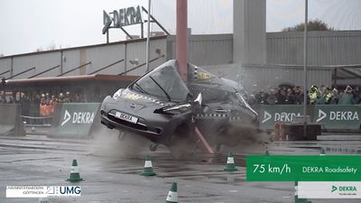 Researchers Smashed A Car Into A Pole To Prove Electric Vehicles Are Safe