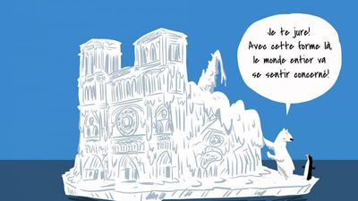 Viral climate cartoon uses satire to question Notre Dame donations