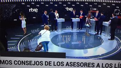 This photo of women cleaning the TV studio before election debate irks social media users