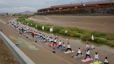 Watch: Yoga lovers strike a pose on the US-Mexico border