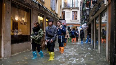 Venice flooding at historic levels during high tide
