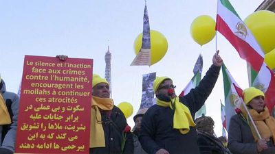 Watch: Iranians in France demonstrate against Tehran protest crackdown