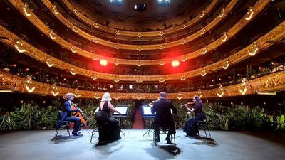 Barcelona's Liceu opera house reopens for performance to an audience of potted plants