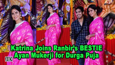 Katrina Joins Ranbirs BESTIE Ayan Mukerji for Durga Puja Celebration