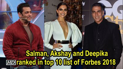 Salman, Akshay and Deepika ranked in top 10 list of Forbes 2018