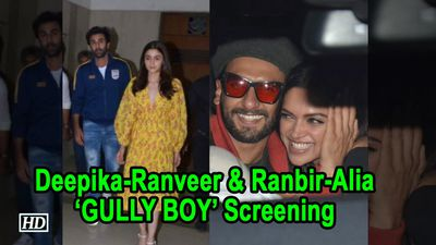 Deepika Ranveer Ranbir Alia at screening of GULLY BOY