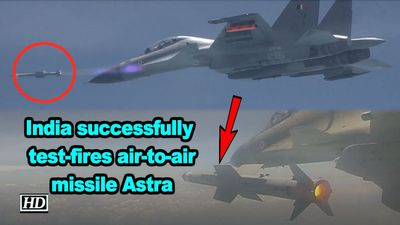 India successfully testfires air to air missile astra
