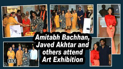 Amitabh bachhan javed akhtar and others attend art exhibition