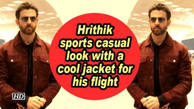Hrithik sports casual look with a cool jacket for his flight