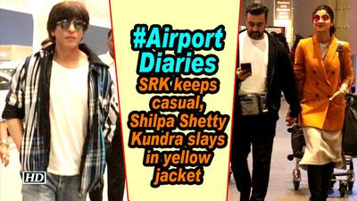 #AirportDiaries | SRK keeps casual, Shilpa Shetty Kundra slays in yellow jacket