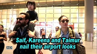 Saif kareena and taimur nail their airport looks
