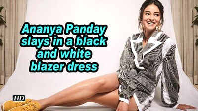 Ananya panday slays in a black and white blazer dress