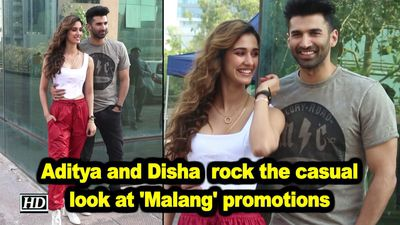 Aditya roy kapoor and disha patani rock the casual look at malang promotions