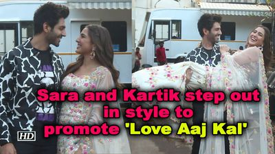 Sara ali khan and kartik aaryan step out in style to promote love aaj kal