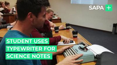Student uses old school typewriter for Microbiology notes