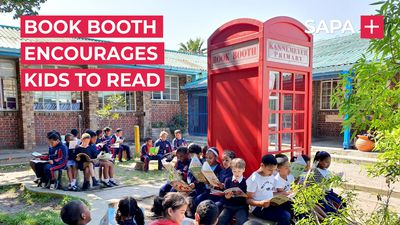 This book booth is encouraging children to read