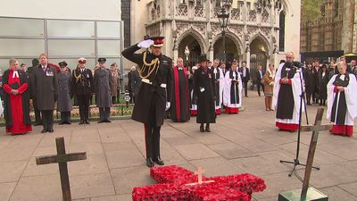 Prince Harry lays Cross of Remembrance at Westminster Abbey