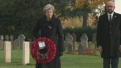 Prime Minister Theresa May lays wreath to mark WW1 Centenary