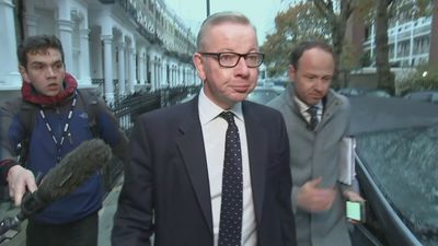 Michael Gove ignores reporters' questions as he leaves home