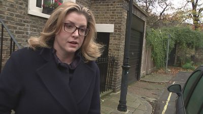 Penny Mordaunt leaves home facing reporters' questions