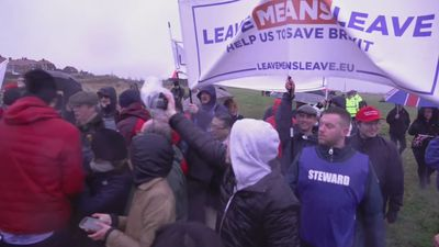 Chaotic scenes as Nigel Farage's Brexit march begins