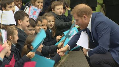 The Duke of Sussex jokes with pupils during school visit