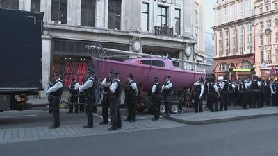Police remove pink yacht from Oxford Circus