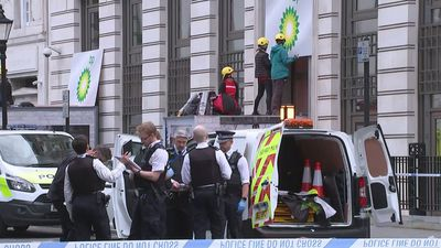 Greenpeace protesters block BP London HQ entrances