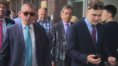 Nigel Farage hit by milkshake on campaign visit to Newcastle