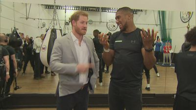 Prince Harry meets Anthony Joshua at sports project launch