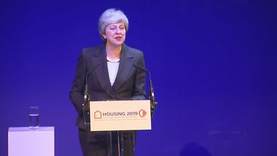 May returns to venue of her 'car crash' speech