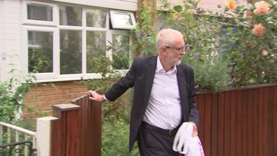 Corbyn questioned on leadership as he leaves home