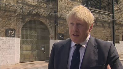 Boris Johnson visits a prison in Leeds