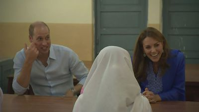 Duke and Duchess of Cambridge speak with pupils in Islamabad
