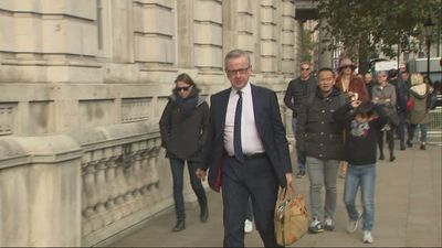 Michael Gove arrives at Cabinet Office on a Sunday