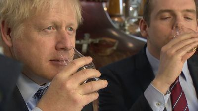 Boris Johnson visits whiskey distillery in Scotland