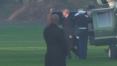 Donald Trump arrives in Hertfordshire for Nato meeting