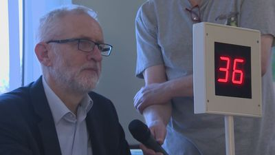 Jeremy Corbyn calls the numbers at bingo game